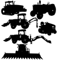 farm equipments silhouettes vector image