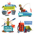 fishermen with fishing rod fish catch and tackle vector image