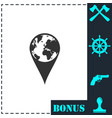 globe pin icon flat vector image