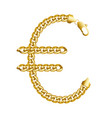 gold euro money sign made of shiny thick golden vector image