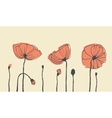 Hand-drawn poppies vector image vector image