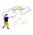 happy boy drawing stars rainbow and clouds child vector image vector image