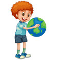 happy boy holding globe isolated vector image