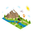 hiking in a park concept 3d isometric view vector image vector image