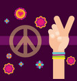 hippie hand peace and love flowers free spirit vector image