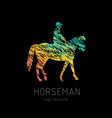 horseman on sports horse silhouette logo design vector image vector image