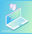 isometric gradiented laptop with opened web site vector image