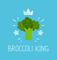 king broccoli cartoon flat and doodle vector image