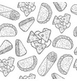 mexican food seamless pattern coloring page for vector image vector image