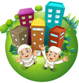 Muslim couple and buildings vector image vector image
