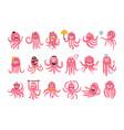 Octopus emoticon icons with funny cute cartoon