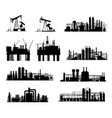 oil and gas industry silhouettes refinery and rig vector image