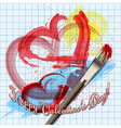 Painted hearts vector image vector image