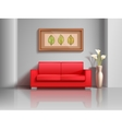 Realistic red sofa and flowerpot in living room vector image vector image