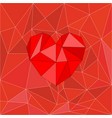 red valentines heart on red wrapping surface vector image vector image