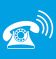 retro phone icon white vector image vector image