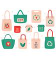 reusable bags fabric recycling symbol shopping vector image