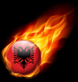 Round glossy icon of albania vector image