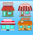 set of four different flat art franchise business vector image