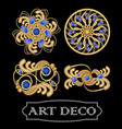 set of gold filigree brooch with blue gems vector image vector image