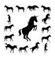 set unicorn silhouette vector image vector image