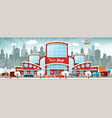 shopping center in the city winter vector image