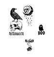 Skull ghost and graveyard halloween element