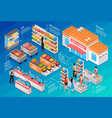 supermarket isometric concept vector image vector image