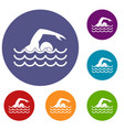 swimmer icons set vector image vector image