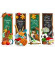 teachers day education holiday blackboard banners vector image