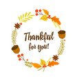 thanksgiving card with autumn elements vector image