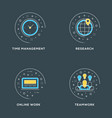 time management research online work teamwork set vector image vector image