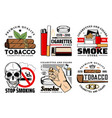 tobacco cigarettes cigar lighter ashtray skull vector image vector image