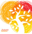 White Bold Tree icon on hand drawn colorful backgr vector image vector image