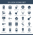 25 lock icons vector image vector image