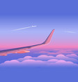airplanes over clouds in sky at sunset vector image