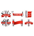 barbershop logo label emblem set vector image