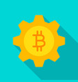 bitcoin gear flat icon vector image