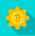 bitcoin gear flat icon vector image vector image