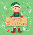 board candy cane christmas elf boy vector image vector image