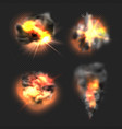 bomb explosion exploded fire flame and smoke vector image