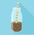 bottle of chocolate milkshake with straw icon vector image