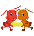 cartoon ants holding cheese slice vector image