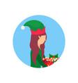 christmas girl face profile avatar elf santa vector image