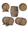 Collection of wine rum beer classical wooden vector image vector image