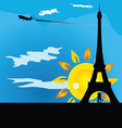 couple kissing beneath the Eiffel Tower vector image vector image