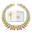 Crown of leaves with notebook and pencil vector image