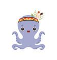 cute octopus sea creature wearing indian vector image vector image