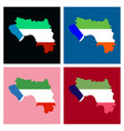 equatorial guinea map and flag in white background vector image vector image