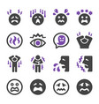 fear icon set vector image vector image